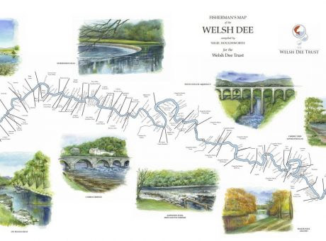 Map of the salmon pools of the Welsh Dee